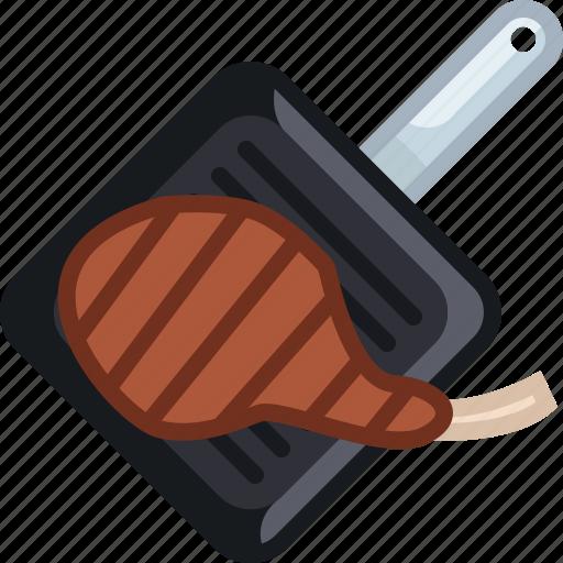 cooking, food, grill, meat, pan, rib, yumminky icon