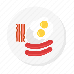 bacon, breakfast, egg, food, fried egg, sausage icon