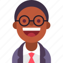 african, avatar, businessman, glasses, guy, man, tie icon