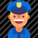 avatar, cap, cop, man, officer, police, uniform icon