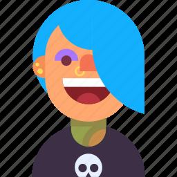 avatar, girl, piercing, skull, tattoo, teen, woman icon