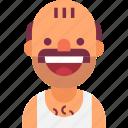 avatar, bald, funny, man, mustache, neighbor, singlet icon