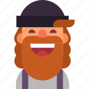 avatar, beard, guy, hat, hipster, man, smile icon