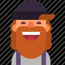 avatar, beard, guy, hat, hipster, man, smile icon