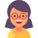 avatar, girl, glasses, student, teacher, woman, young icon