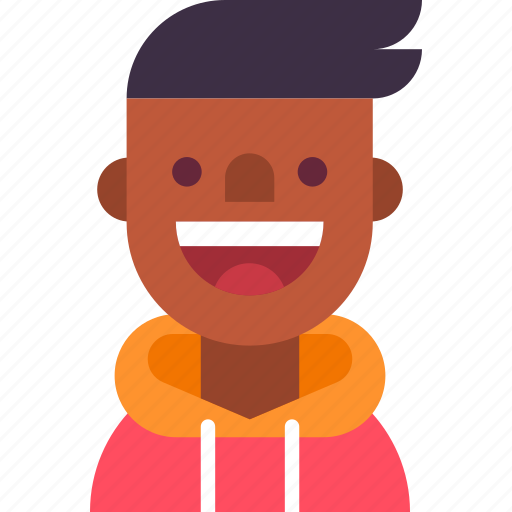 african, american, avatar, guy, hoodie, man, student icon