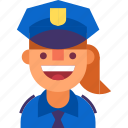 avatar, cap, cop, girl, officer, police, woman icon