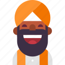 avatar, beard, indian, man, muslim, punjab, turban icon