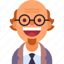 avatar, beard, glasses, man, professor, scientist, tie icon