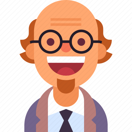 avatar, beard, glasses, man, professor, scientist, tie icon