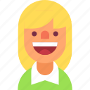 avatar, blond, girl, haircut, happy, smile, woman icon
