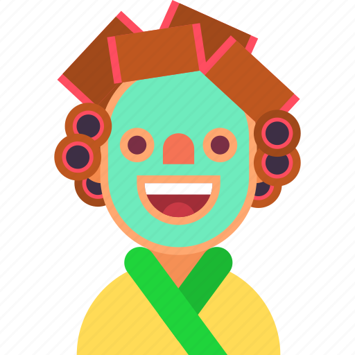 avatar, bathrobe, cosmetic, curler, home, mask, woman icon