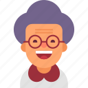 avatar, glasses, grandma, grandmother, happy, old, woman icon