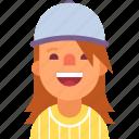 avatar, baseball, cap, cheerleader, girl, sport, woman icon
