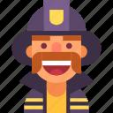 avatar, firefighter, fireman, helmet, man, mustache, uniform icon