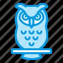 animal, bird, bluetone, halloween, night, owl icon