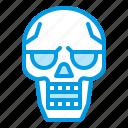 bluetone, bone, dead, death, halloween, skeleton, skull icon