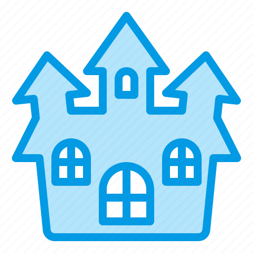 bluetone, building, halloween, haunted, horror, house, mansion icon