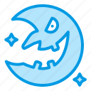 bluetone, crescent, halloween, horror, moon icon