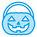 basket, bluetone, halloween, hamper, pumpkin icon