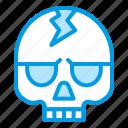 bluetone, bone, cranium, death, halloween, skeleton, skull icon