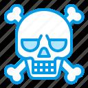 bluetone, bone, death, halloween, pirate, skeleton, skull icon
