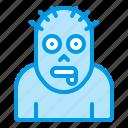 bluetone, character, dead, halloween, horror, men, zombie icon