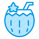 coconuts, fruits, juice, summer, water icon