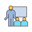 audience, conference, organization, presentation, speaker, whiteboard icon