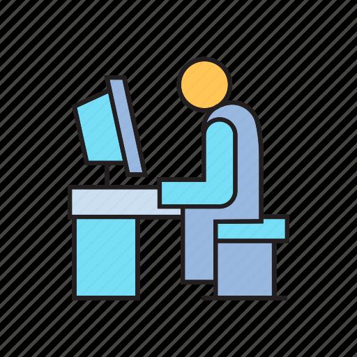 computer, dsktop, employer, office, sitting, worker, working icon