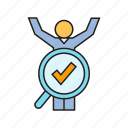 approve, human resource, magnifier, people, recruiting, right, scan icon