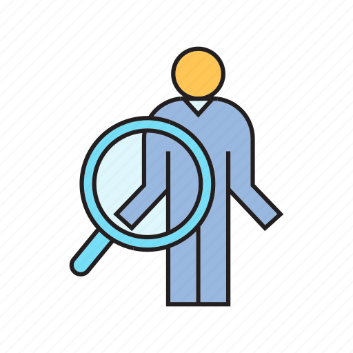 head hunter, human resource, magnifier, recruiting, scan, search, worker icon