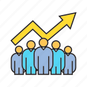 chart, collaborate, cooperate, graph, growth, profit, teamwork icon