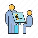 administration, check in, cooperate, monitoring, office, organization, registration icon