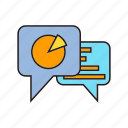 analytics, data, info, information, pie chart, speech bubble, stat icon