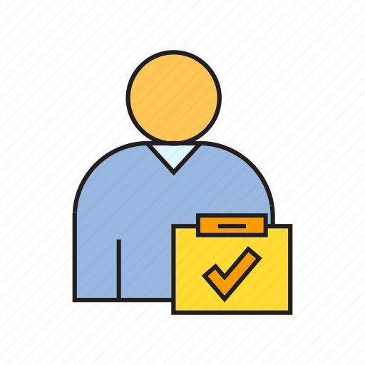 approve, business card, check, profile, user, worker icon