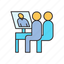 chat, meeting, office, online conference, online meeting, talking, working icon
