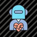 artificial intelligence, cyborg, heart, humanoid, mind, robot worker, robotics icon