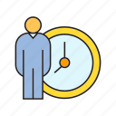 clock, management, organization, people, time, time management, worker icon