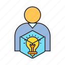 creative, idea, light bulb, people, smart, think icon