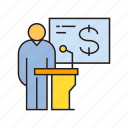 business conference, conference, finance, leader, podium, present, speaker icon