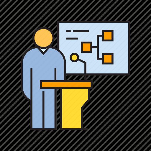 conference, diagram, employer, leader, podium, presentation, speaker icon