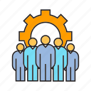 cog, collaborate, cooperate, gear, people, team, teamwork icon