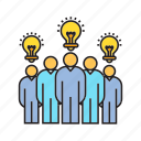 board, creative, idea, light bulb, team, teamwork, think icon