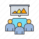 chart, cooperate, graph, meeting, office, presentation, worker icon