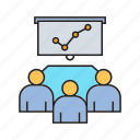 board, business meeting, collaborate, graph, office, organization, worker icon