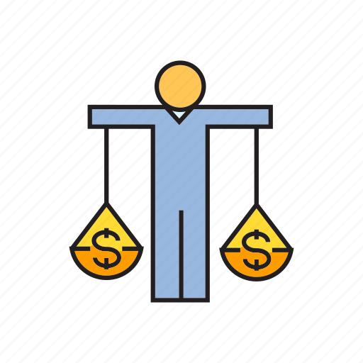 balance, finance, fund, justice, money, people, scale icon