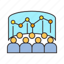 audience, conference, data, graph, monitoring, stock market, training icon