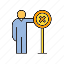 ban, caution, no, people, signage, warn, wrong icon