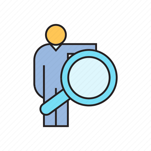 human resource, magnifier, people, recruiting, scan, search icon